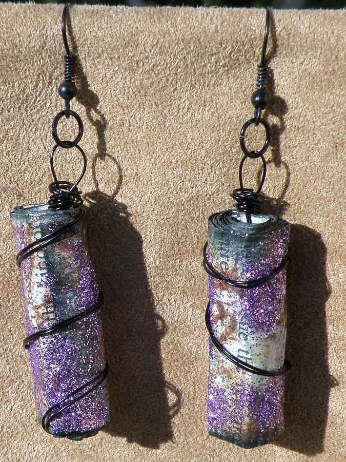 Wire Wrapped Beads Jewelry - Paper Bead Earrings 1 by Megan Brandl