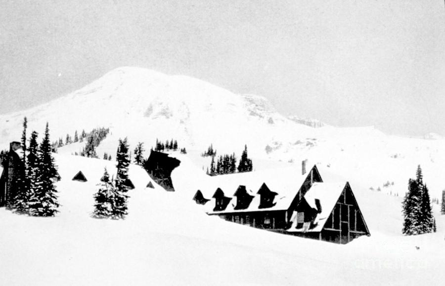 Paradise Inn Buried In Snow, 1917 Photograph  - Paradise Inn Buried In Snow, 1917 Fine Art Print