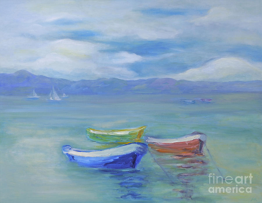 Paradise Island Boats Painting