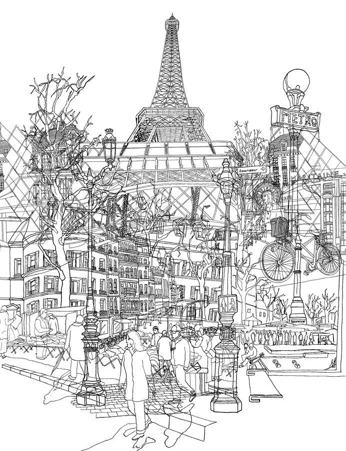 Paris Bw Drawing By David Bushell