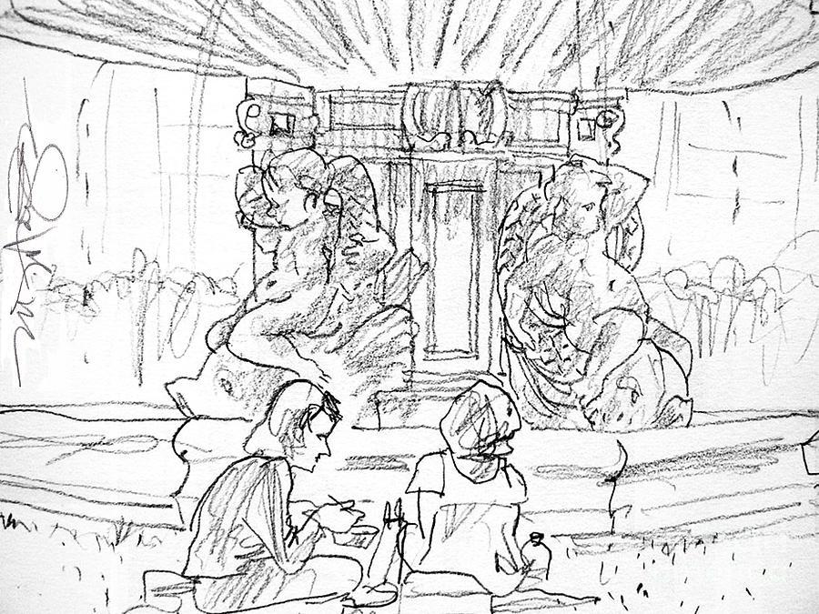 Summer Paris Drawing - Paris Fountain by Marilyn MacGregor