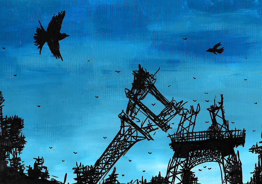 Paris Painting - Paris Is Falling Down by Jera Sky