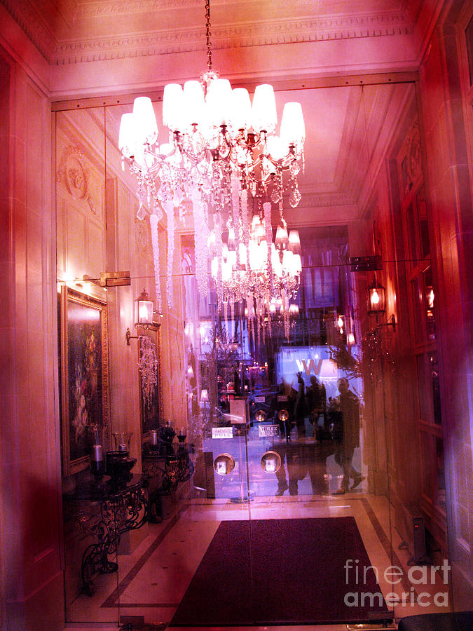 Paris Posh Pink Red Hotel Interior Chandelier Photograph  - Paris Posh Pink Red Hotel Interior Chandelier Fine Art Print