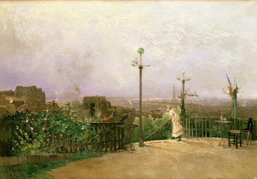 Paris Seen From The Heights Of Montmartre Painting  - Paris Seen From The Heights Of Montmartre Fine Art Print
