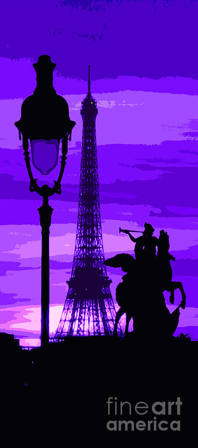 Paris Tour Eiffel Violet Photograph  - Paris Tour Eiffel Violet Fine Art Print