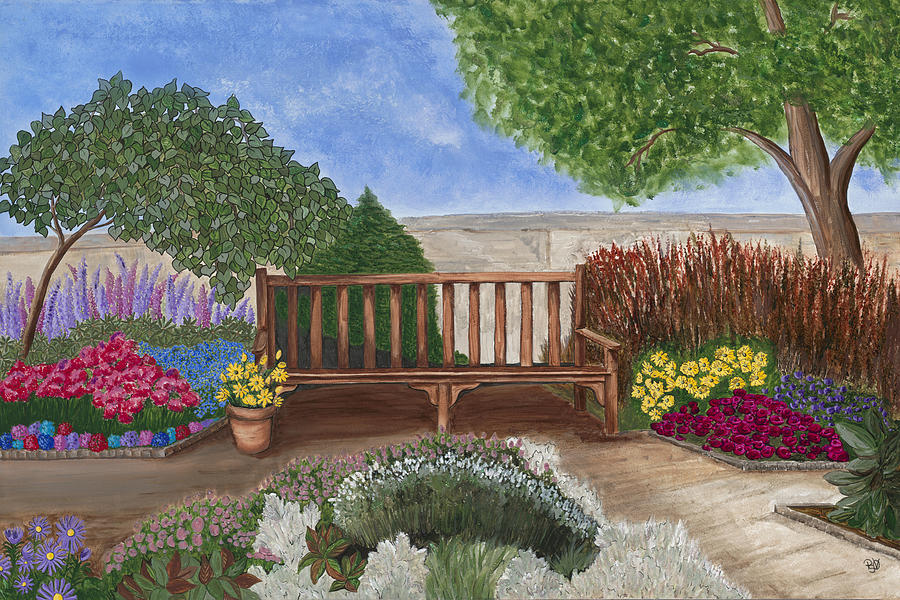 Park Bench In A Garden Painting