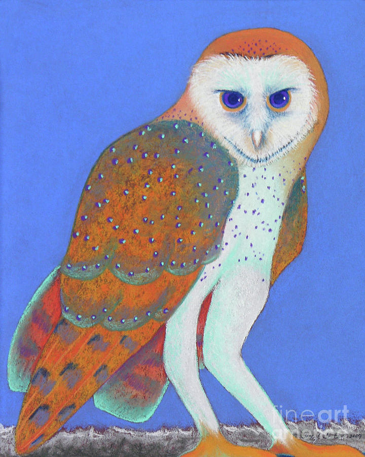 Parliament Of Owls Detail 1 Pastel  - Parliament Of Owls Detail 1 Fine Art Print