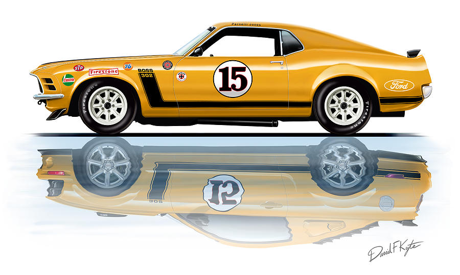 Parnelli Jones Trans Am Mustang Painting  - Parnelli Jones Trans Am Mustang Fine Art Print