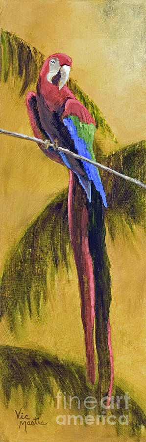 Parrot Is A Character With Gold Leaf By Vic Mastis Painting