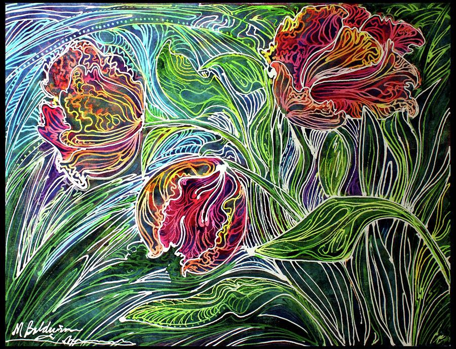 Parrot Tulip Batik Abstract Painting