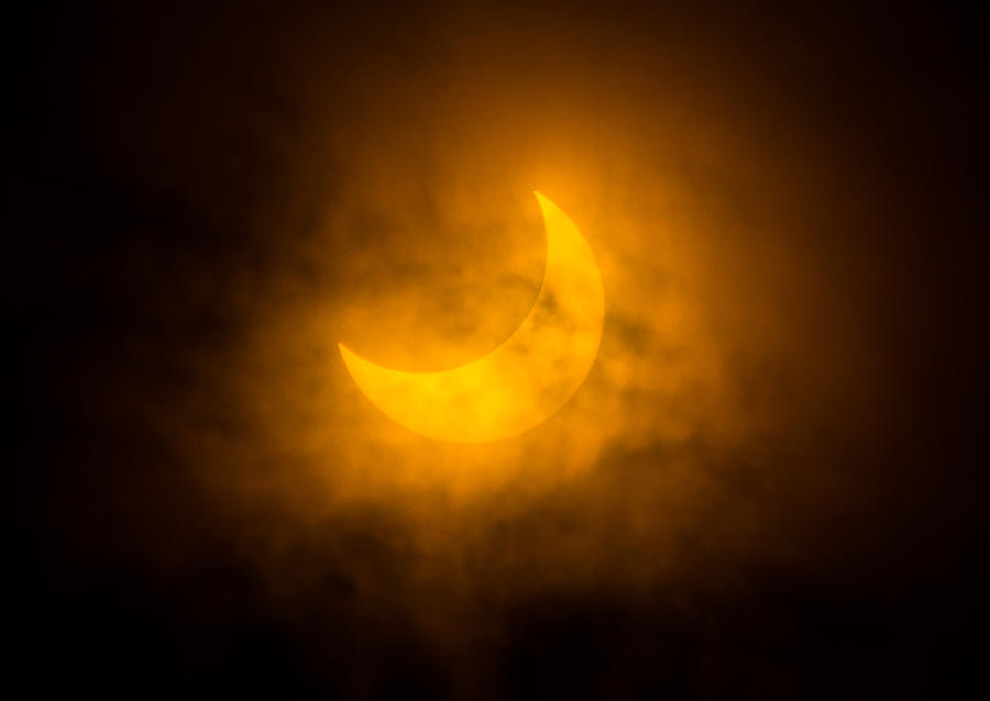 Solar Eclipse Photograph - Partial Solar Eclipse Through Fog by Greg Nyquist