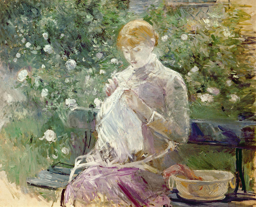 Pasie Sewing In Bougivals Garden Painting  - Pasie Sewing In Bougivals Garden Fine Art Print