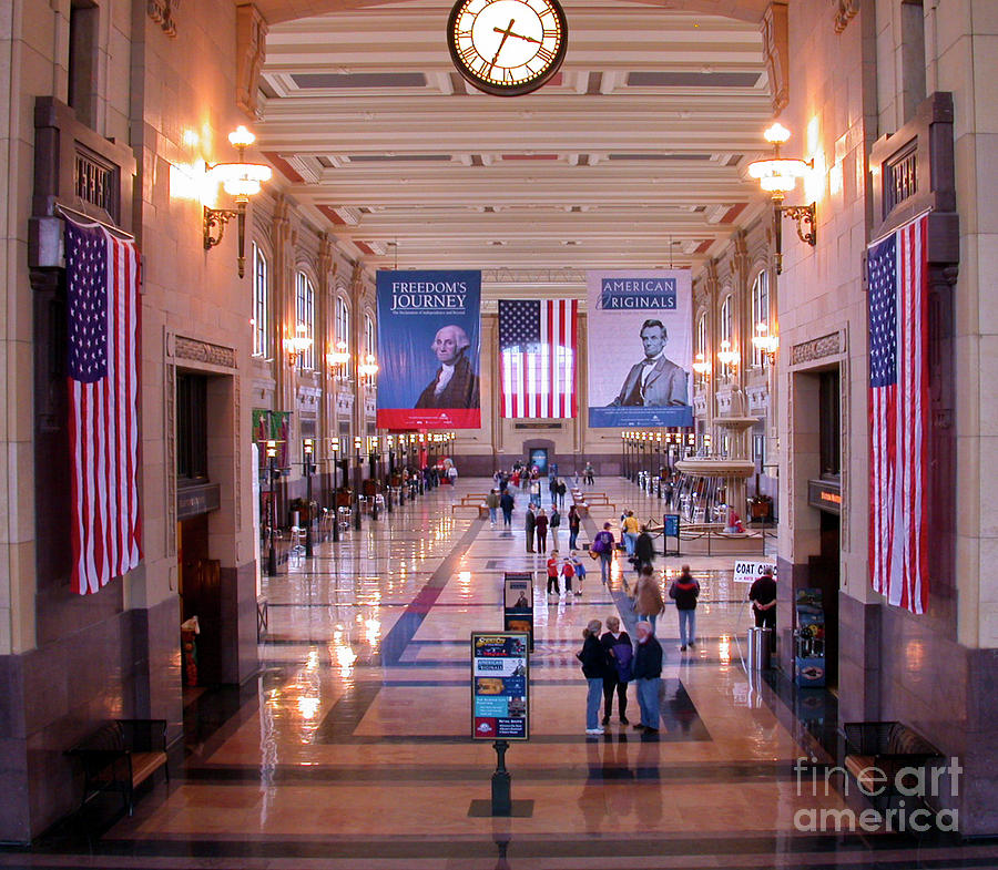 Union Station Photograph - Passengers And Flags by Tim Mulina