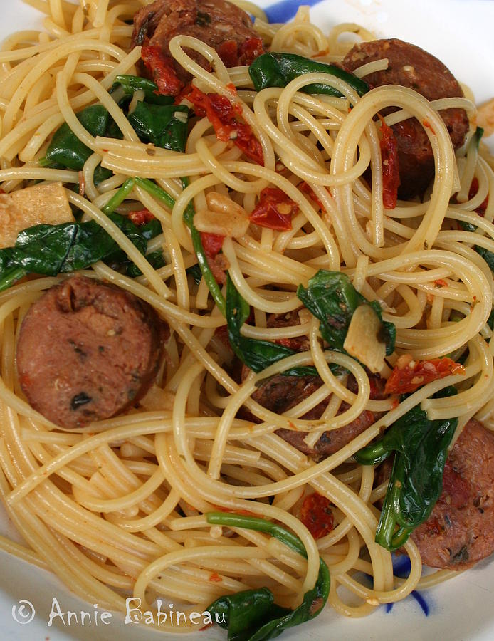Pasta Photograph - Pasta With Sun Dried Tomatoes Spinach And Sausage ...