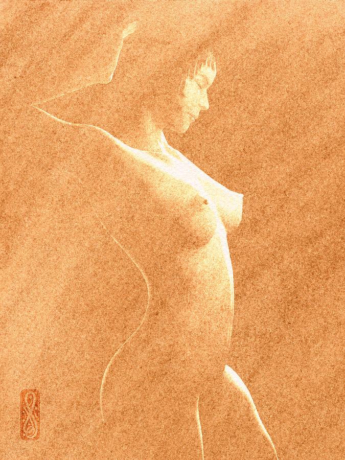 Pastel Chiaroscuro Nude Painting