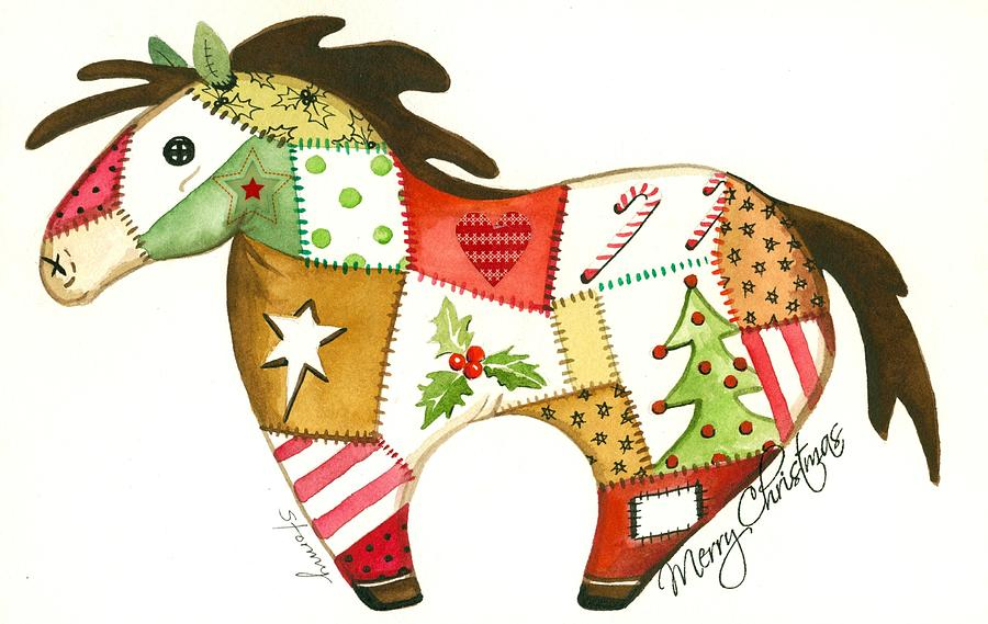 Patchwork Christmas Horse Painting