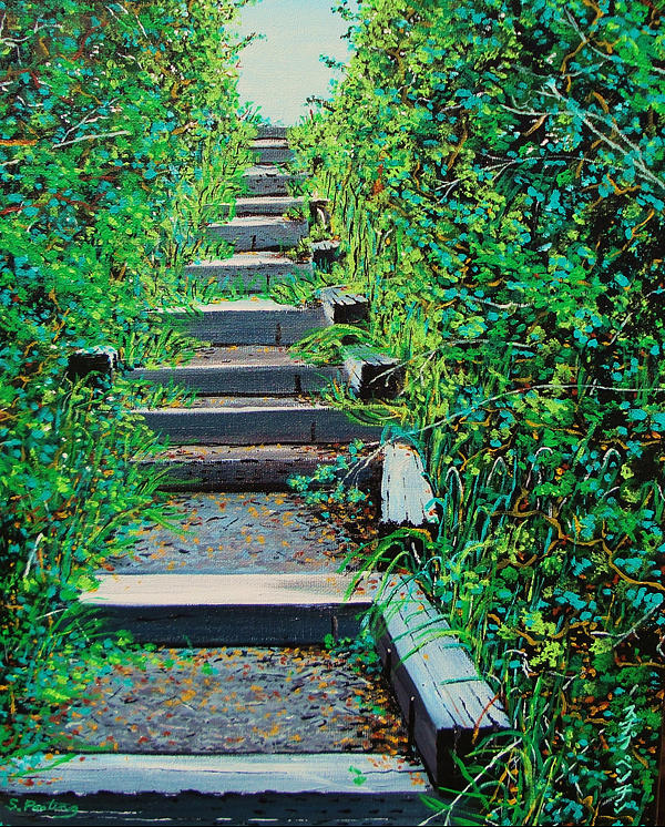 Pathway To Puget Sound Painting  - Pathway To Puget Sound Fine Art Print