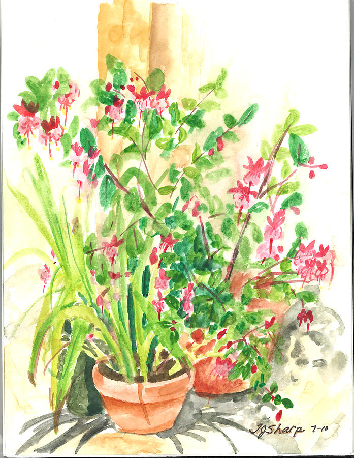 Outdoor Still Life Painting - Patio Pots by Teresa J Sharp