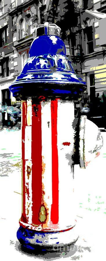 Patriotic Fire Hydrant Mixed Media