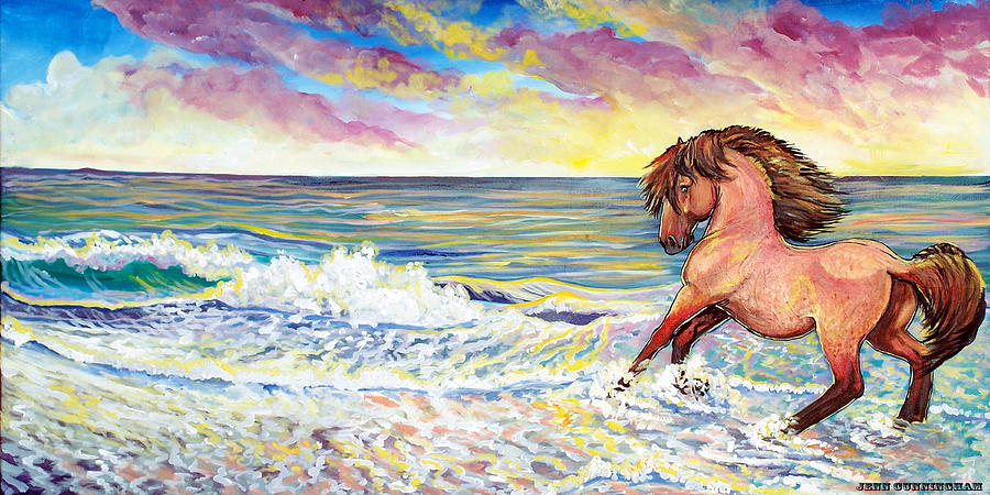 Pawing The Surf Painting