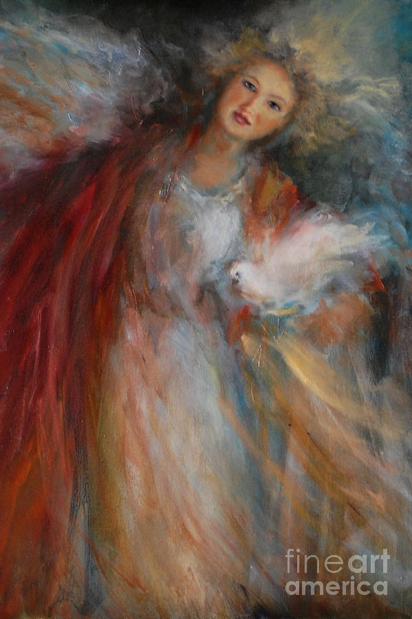 Peace angel by angel cottage peace angel painting for Angel paintings for sale