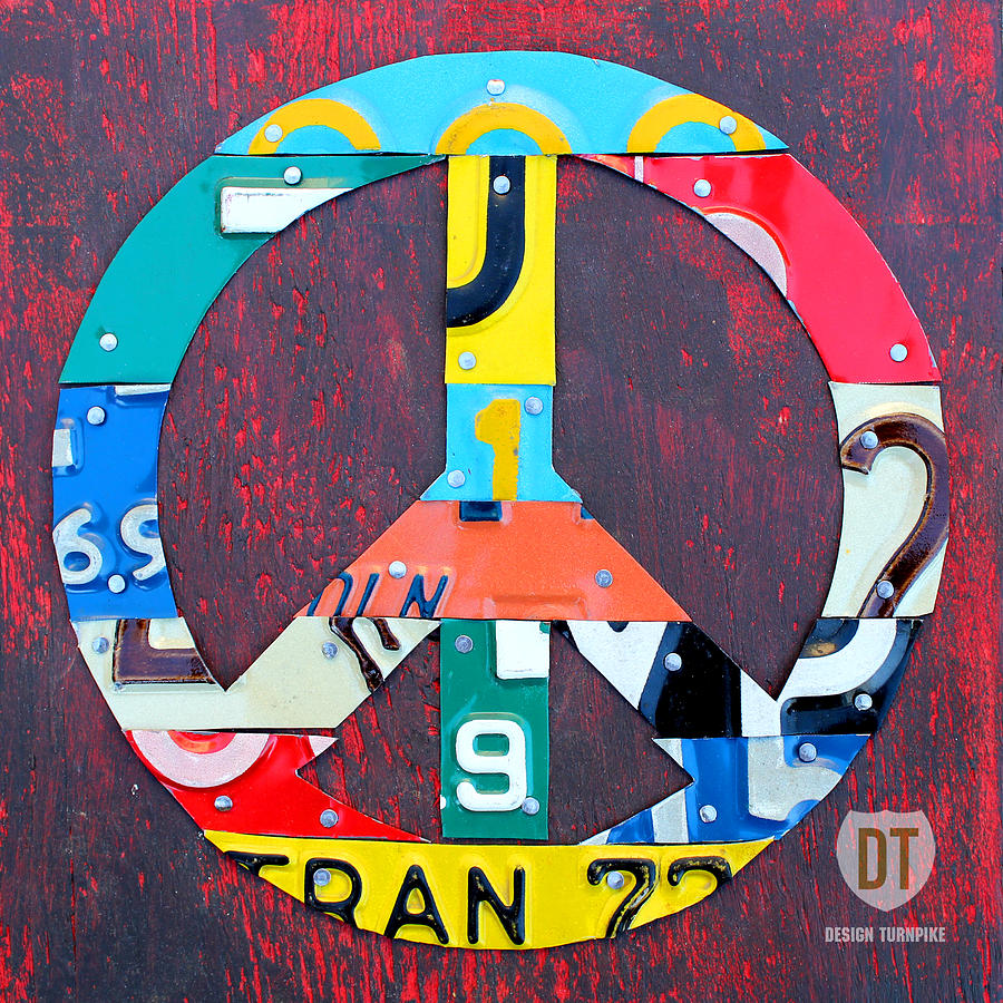 Peace License Plate Art Mixed Media  - Peace License Plate Art Fine Art Print
