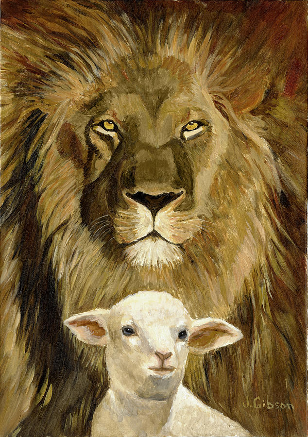Peace Lion And Lamb By Joyce Gibson