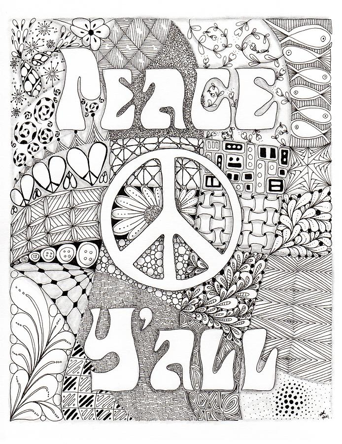 Peace Yall Drawing  - Peace Yall Fine Art Print