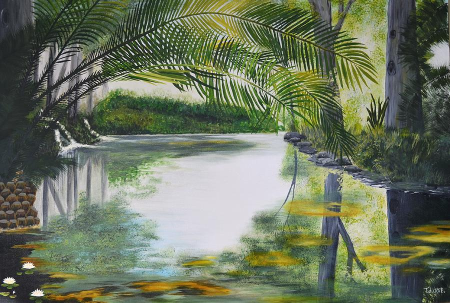 Peaceful Pond. Pond. Palms. Landscape. Water. Stellenbosch. Reflections. Reflections On Water Painting - Peaceful Pond by Tessa Dutoit