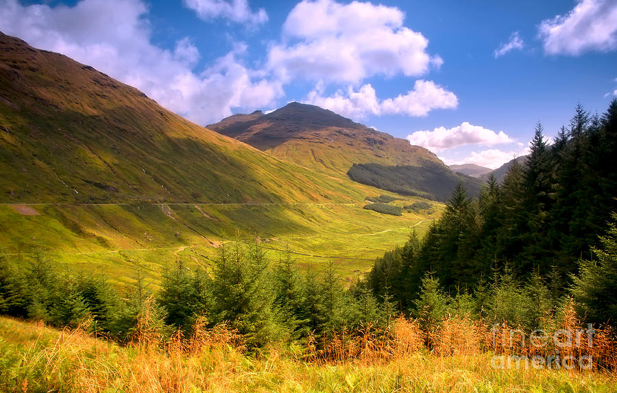 Peaceful Sunny Day In Mountains. Rest And Be Thankful. Scotland Photograph