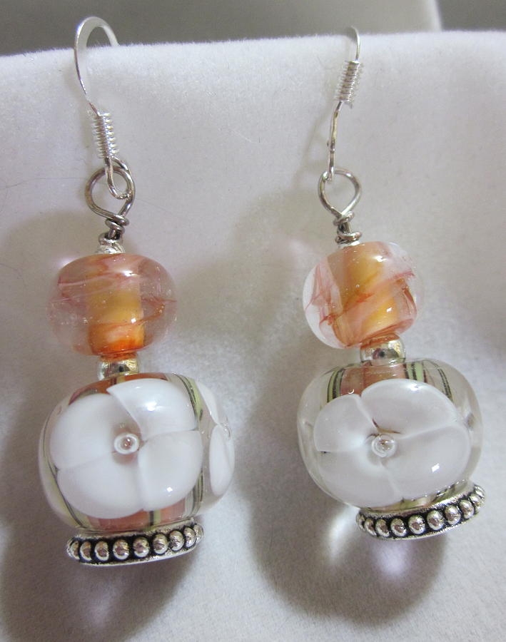 Peach And White Flower Earrings Jewelry