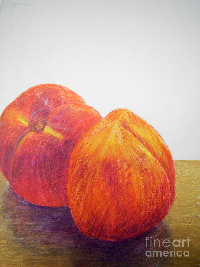 Peaches Drawing  - Peaches Fine Art Print