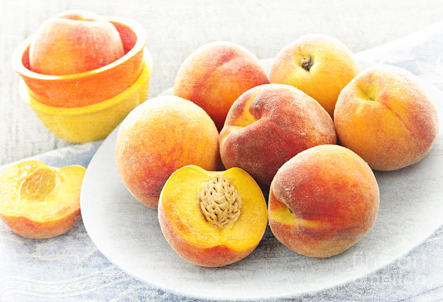 Peaches On Plate Photograph