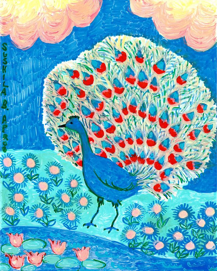 Peacock And Lily Pond Painting  - Peacock And Lily Pond Fine Art Print