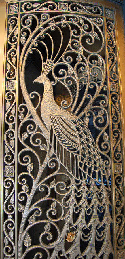 Peacock Door II - The Palmer House In Chicago Photograph