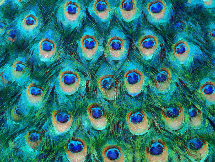 Peacock Feathers Mixed Media  - Peacock Feathers Fine Art Print