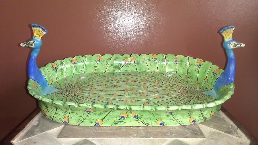 Peacock Platter Ceramic Art