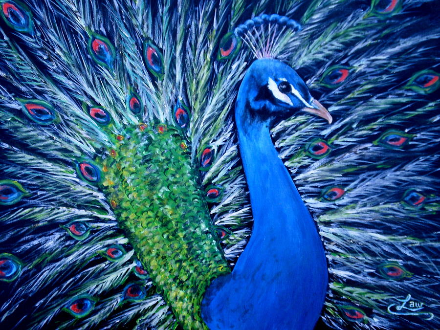 Peacock Painting - Peacocking by Chris Law