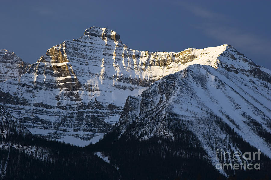 Peak Of Mount Temple Mountain In Banff Photograph  - Peak Of Mount Temple Mountain In Banff Fine Art Print