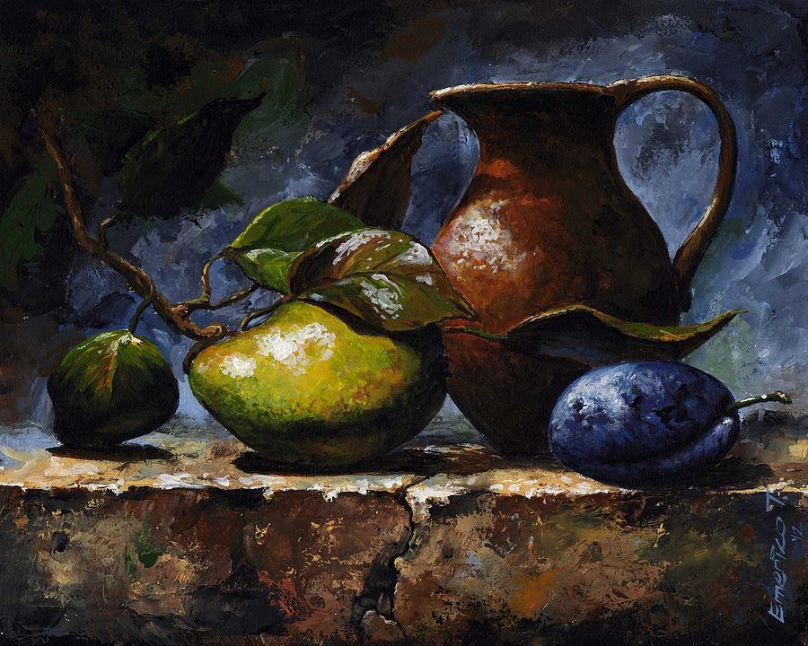 Pear And Plum Painting