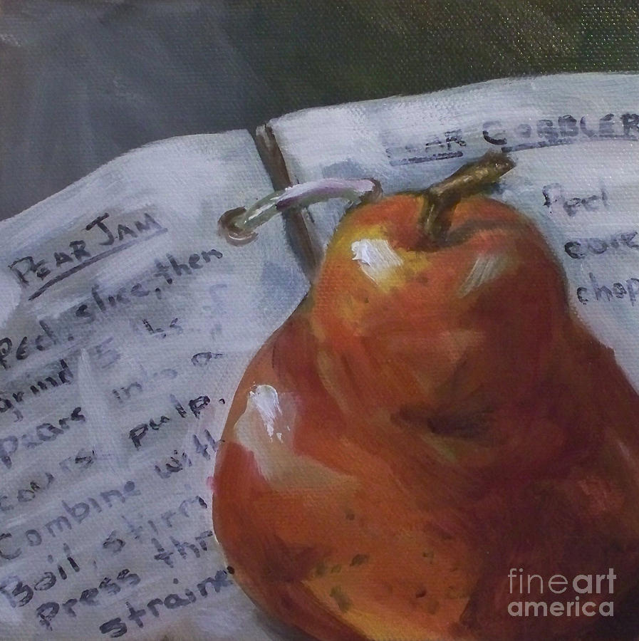 Pear Meets Cookbook Painting  - Pear Meets Cookbook Fine Art Print