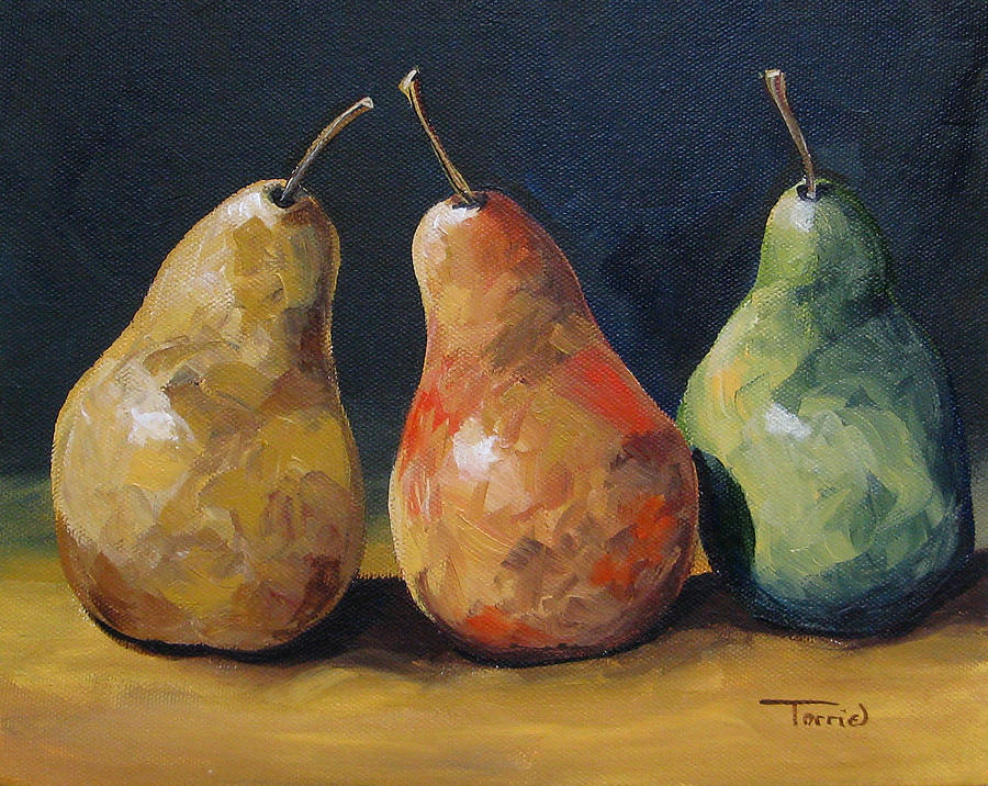 Pear Trio  Painting  - Pear Trio  Fine Art Print