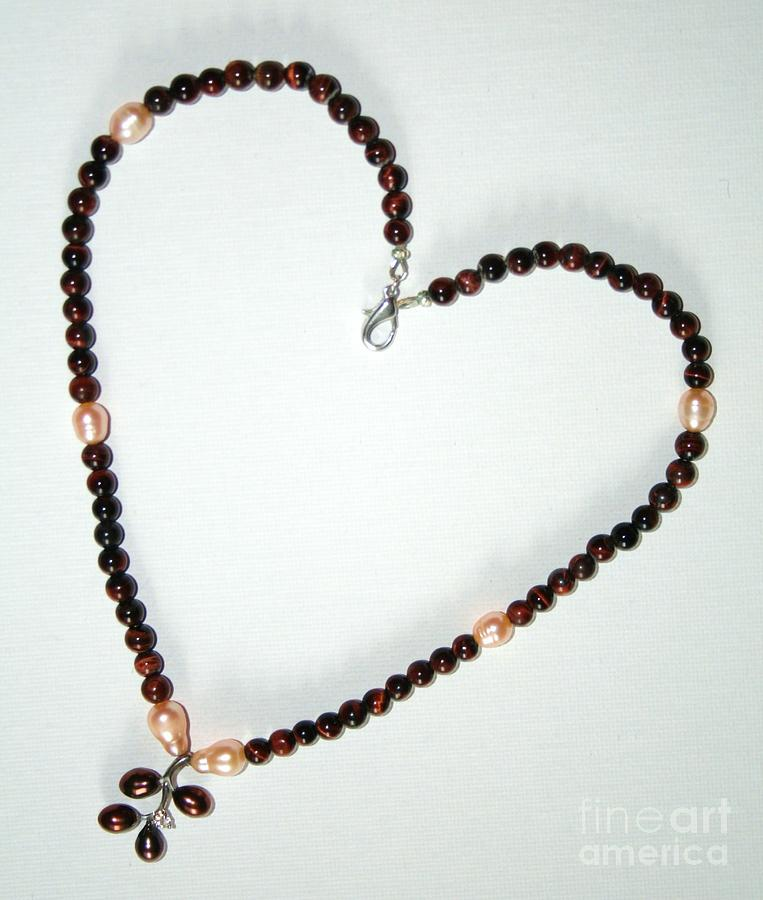 Pearl And Red Tigers Eye Jewelry