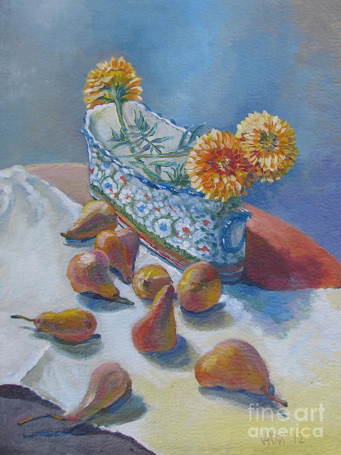 Pears And Antique Painting
