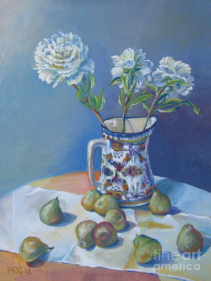 pears and Talavera table pitcher Painting  - pears and Talavera table pitcher Fine Art Print