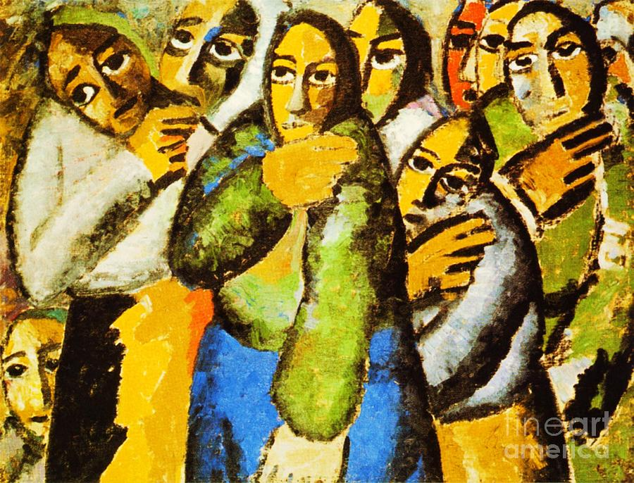 Peasant Women In Church Painting  - Peasant Women In Church Fine Art Print