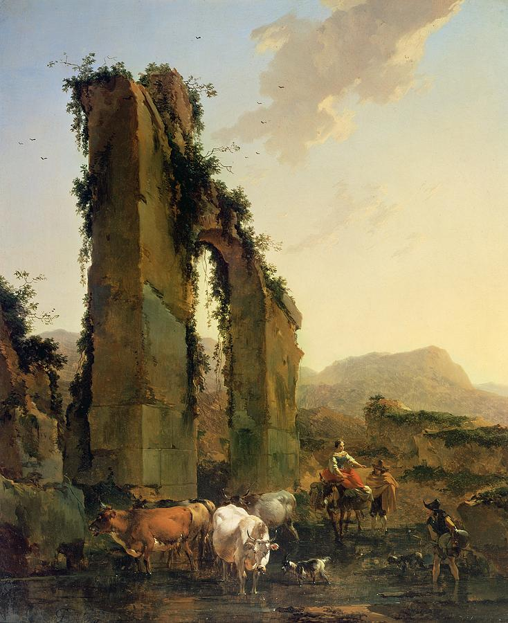 Peasants With Cattle By A Ruined Aqueduct Painting  - Peasants With Cattle By A Ruined Aqueduct Fine Art Print