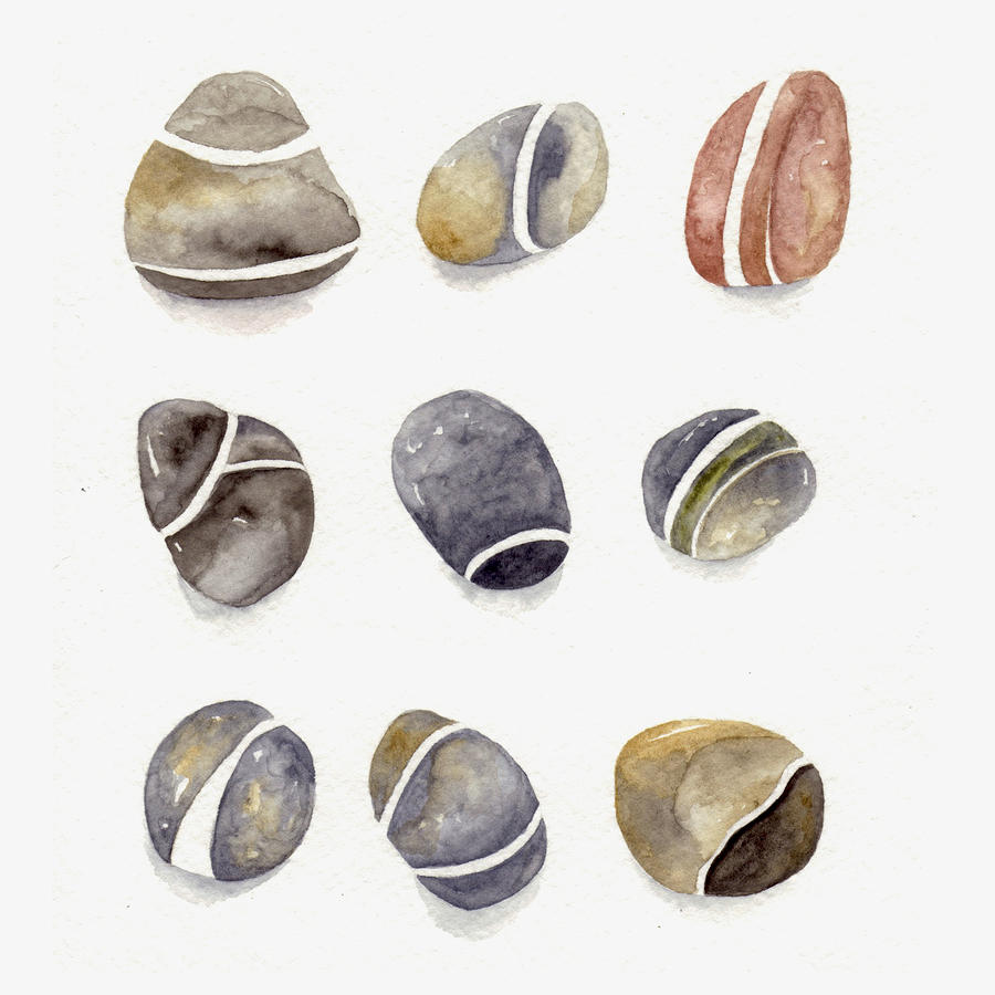 Pebbles Three By Three Painting  - Pebbles Three By Three Fine Art Print