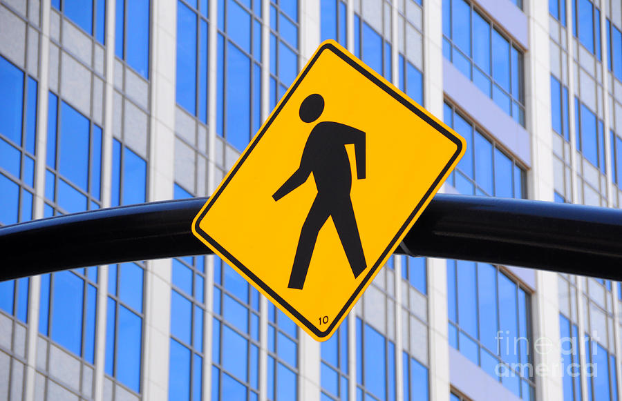 Pedestrian Crosswalk Sign In Business District Photograph  - Pedestrian Crosswalk Sign In Business District Fine Art Print