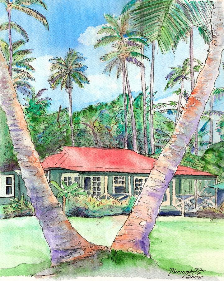 Peeking Between The Palm Trees Painting  - Peeking Between The Palm Trees Fine Art Print